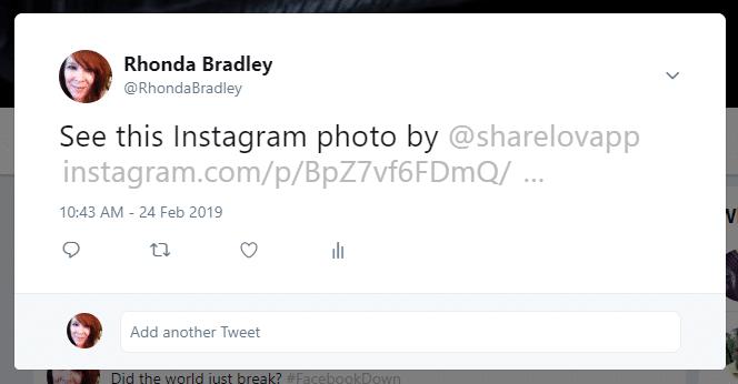 Sharing Instagram post on Twitter